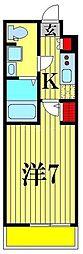 (仮称)レオーネ亀有WEST 5階1Kの間取り