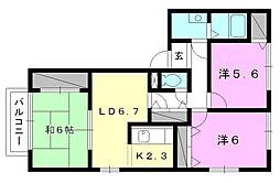 フォブール福音寺[103 号室号室]の間取り