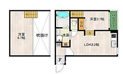 西鉄天神大牟田線 大橋駅 徒歩5分の賃貸アパート 1階1LDKの間取り
