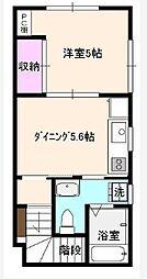 東京都渋谷区笹塚1丁目の賃貸アパートの間取り