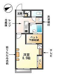 愛知県東海市加木屋町論田の賃貸アパートの間取り