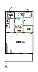 JR中央本線 武蔵境駅 徒歩7分の賃貸アパート 2階1Kの間取り