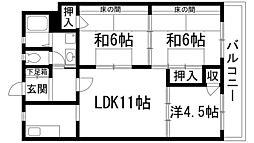 兵庫県宝塚市中筋7丁目の賃貸マンションの間取り