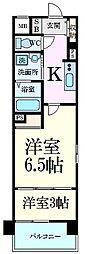 阪神本線 芦屋駅 徒歩6分の賃貸マンション 4階1LDKの間取り