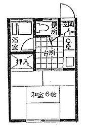 第一花村コーポ[10号室]の間取り