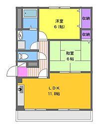 ルーチェ 3階2LDKの間取り