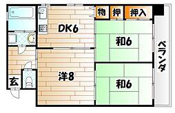 福岡県北九州市小倉北区井堀5丁目の賃貸マンションの間取り