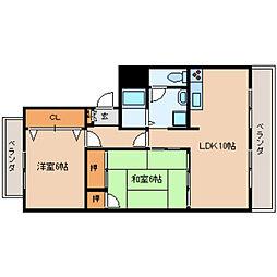 奈良県大和高田市神楽2丁目の賃貸マンションの間取り