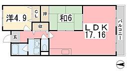 テルツォ南新在家[504号室]の間取り