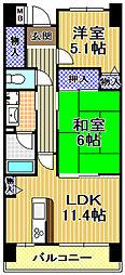 サンラフレ出来島13号棟[8階]の間取り