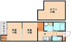 福岡県福岡市南区井尻2丁目の賃貸アパートの間取り