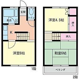 [テラスハウス] 神奈川県相模原市南区東林間4丁目 の賃貸【神奈川県 / 相模原市南区】の間取り