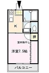 シャトレM'S弐番館 2階1Kの間取り