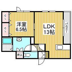 (仮)日新町6丁目新築AP 3階1LDKの間取り
