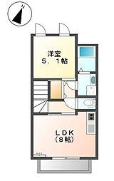 東京都大田区上池台2丁目の賃貸アパートの間取り
