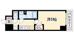 プレサンス兵庫駅前 2階1Kの間取り