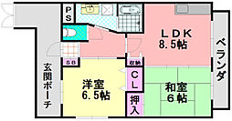 OKハイツ加美II[6階]の間取り