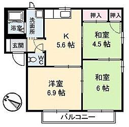 広島県福山市南蔵王町6丁目の賃貸アパートの間取り