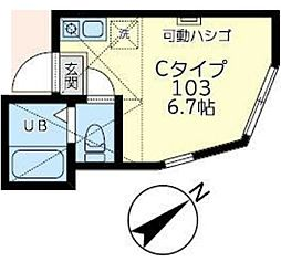 JR京浜東北・根岸線 桜木町駅 徒歩7分の賃貸アパート 1階ワンルームの間取り