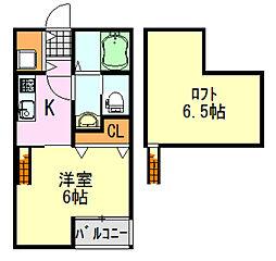 千葉県千葉市中央区寒川町2丁目の賃貸アパートの間取り