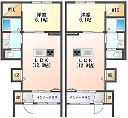 Oak Villa彦根駅東 1階1LDKの間取り