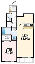 南海高野線 萩原天神駅 徒歩5分の賃貸アパート 1階1LDKの間取り