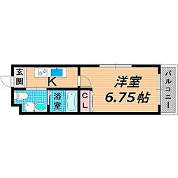 京阪本線 千林駅 徒歩1分の賃貸マンション 2階1Kの間取り
