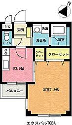 エクスバルTOBA[1階]の間取り