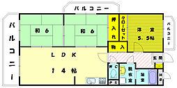 サンシャイン三苫II[3階]の間取り