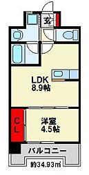 福岡県遠賀郡水巻町頃末南3丁目の賃貸マンションの間取り