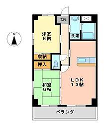 愛知県名古屋市中川区広住町の賃貸マンションの間取り