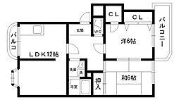 熊野町ハイツ[102号室]の間取り