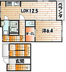 福岡県北九州市若松区片山1丁目の賃貸アパートの間取り