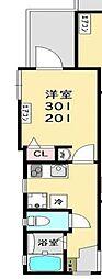 ロワール生麦 弐番館 2階1Kの間取り