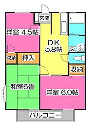 埼玉県所沢市西狭山ケ丘1丁目の賃貸アパートの間取り