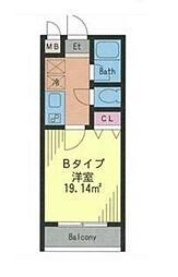 ドルフィン西新宿 4階1Kの間取り