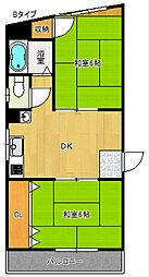 第二大西マンション[5階]の間取り