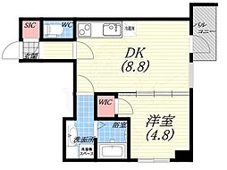ダブルナインレジデンス西宮 8階1DKの間取り