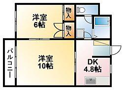 千葉県東金市東上宿の賃貸アパートの間取り