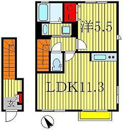 カーサ フェリーチェA・B[2階]の間取り