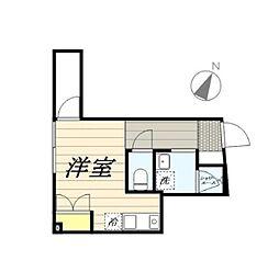 JR中央線 西国分寺駅 徒歩8分の賃貸マンション 1階ワンルームの間取り