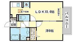 兵庫県姫路市飾磨区英賀西町1丁目の賃貸アパートの間取り
