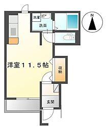 高松琴平電気鉄道琴平線 太田駅 徒歩28分の賃貸アパート 1階ワンルームの間取り