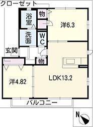 ロイヤルプラムガーデンF棟[1階]の間取り