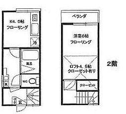 東京都板橋区赤塚5丁目の賃貸アパートの間取り
