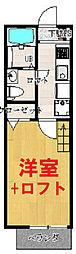 エスコートパレス南太田 2階1Kの間取り