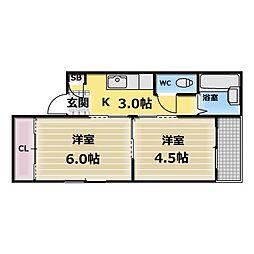 コーポK[5階]の間取り