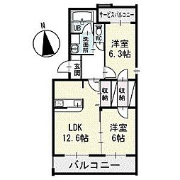 D-CURRENT 4階[401号室]の間取り