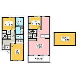 [テラスハウス] 岡山県岡山市北区北方4丁目 の賃貸【/】の間取り