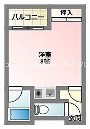 京阪本線 寝屋川市駅 徒歩7分の賃貸マンション 3階1Kの間取り